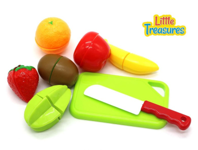 Beginner Chopping Fruit Set from Little Treasures Kids Toy Series Includes 6 Two Piece Fruits and a Pretend Chopping Knife toy with Cutting Board