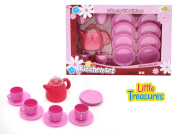 Little Treasures Tea Party Set Pretend Play Toy Tea Set Great Kitchen Dishes Toys for Girls Toddler & Preschool Ages Durable and BPA Free