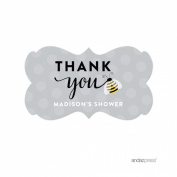 Andaz Press Mama to Bee Bumblebee Gender Neutral Baby Shower Collection, Personalised Fancy Frame Label Stickers, Thank You Madison's Shower, 36-Pack, Custom Name