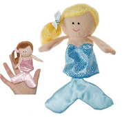 Blond Haired Mermaid With Light Blue Coloured Dress Finger Puppet - By Ganz
