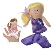 Blond Haired Mermaid With Purple Dress Finger Puppet - By Ganz