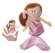 Brown Haired Mermaid With Pink Coloured Dress Finger Puppet - By Ganz