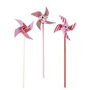 Fun Express Pink Red White Polka Dots Stripes Pinwheels