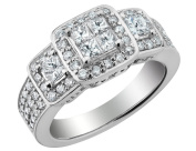 Princess Cut Diamond Engagement Ring & Double Wedding Band Set 1.33 Carat (ctw) in 14K White Gold