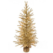 0.9m Pre-Lit Gold Artificial Christmas Tinsel Twig Tree in Burlap Base - Clear Lights