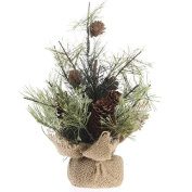 Decorative Table Top Size Young Evergreen with Real Pinecone Accents in Burlap Base for Home Decor, Holiday Embellishing and Crafting