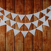 Solid White Double Layer Cotton Fabric Flag Buntings Wedding Birthday Party Decoration