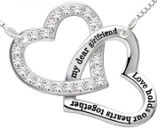 """ALOV Jewellery Sterling Silver """"my dear girlfriend love holds our hearts together"""" Double Love Heart Pendant Necklace Birthday Christmas Valentine's day Gift For Girlfriend"""