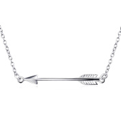 Valentine's Day .925 Side LOVE ARROW Necklace Sterling Silver Jewellery 41cm + 5.1cm Extender Chain Pendant - Gift Boxed