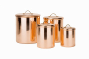 Old Dutch 4 Piece Decor Canister Set with Brass Knob, Copper