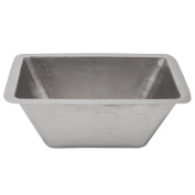 Premier Copper Products Rectangle Copper Bar Sink in Electroless Nickel with 5.1cm Drain Size