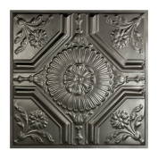 Great Lakes Tin Rochester Argento 0.6m x 0.6m Lay-In Ceiling Tile