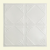 Great Lakes Tin Erie Matte White 0.6m x 0.6m Nail-Up Ceiling Tile