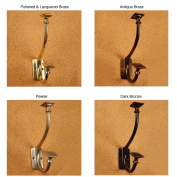 Solid Brass Art and Crafts Pyramid Double Coat Hooks