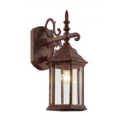 Cambridge Rust Finish Outdoor Wall Sconce with Bevelled Shade