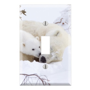 Sweet Baby Polar Bear Cub with Mom Decorative Wall Plate Cover