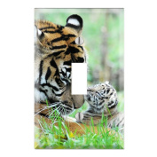 Sweet Baby Tiger Cub with Mom Decorative Wall Plate Cover