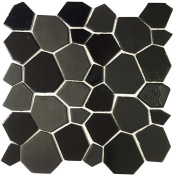 Instant Mosaic Peel and Stick 29cm Black Glass Mosaic Wall Tile