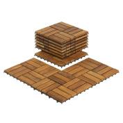 Bare Decor EZ-Floor Interlocking Flooring Tiles in Solid Teak Wood