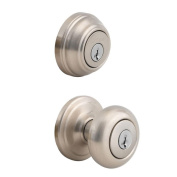 Kwikset 980 Juno Satin Nickel Entry Knob and Single Cylinder SmartKey Deadbolt Combo Pack