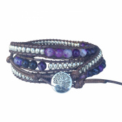 Tree of Life Bracelet Purple Agate Beaded Wrap Jewellery