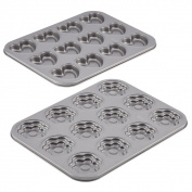 Cake Boss Novelty Nonstick Bakeware 2-piece Heart and Flower Moulded Cookie Pan Set