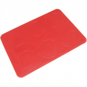 Freshware Red 6-Circle Macaron, Whoopie Pie, Cookie and Creme Puff Silicone Mat