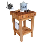 John Boos 80cm x 80cm Maple Pro Prep Block Cart with Drawer and J. A. Henckles 13-piece Knife Block Set