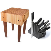 John Boos 60cm Cherry Stain Butcher Block Table with Henckels 13-piece Knife Set