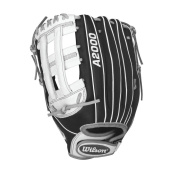 Wilson A2000 Superskin Outfield Fastpitch Softball Glove, Black Matte/Grey/White, Left Hand Throw, 32cm