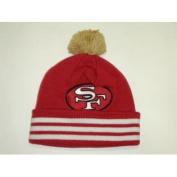 Mitchell & Ness NFL San Francisco 49ers Vintage Stripe Cuffed Pom Knit Beanie