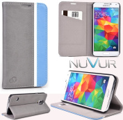 for Samsung Galaxy S5 Accessories Cover Case Flip Stand (Grey Baby Blue) NuVur |SGS5CCEB|