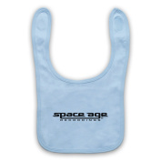 Space Age Recordings® Record Label Logo Official Licenced Baby Bib, Sky Blue