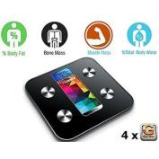 Slim Digital Bathroom Scale - Measures Weight, Body Fat, Water, & Bone Mass 400lb/181kg Capacity Tempered Glass
