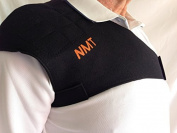 """""""NMT Shoulder Brace"""" ~ Pain Relief, Posture, and Healing ~ New Adjustable Black Support for Men & Women ~ Natural Tourma"""
