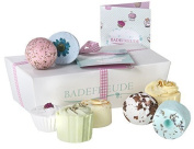 Deluxe Bath Bombs Gift Set Lumunu Badefreude Euphoria, 8 Bath Pralines in a Gift Box with Card