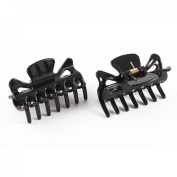 Plastic Lady 14 Teeth Hair Jaw Claw Clip Clamp Hairclip 2pcs Black