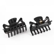 Plastic Lady 14 Teeth Hair Jaw Claw Clip Clamp Hairclip 2pcs Black