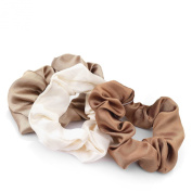GIZZY® Ladies Girls Set of 3 Satin Hair Scrunchies in Shades of Brown Tones.