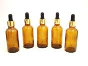 Amber Glass Bottle with Gold Pipette (5 x 50ml) for Premium Aromatherapy, Male Grooming Products etc