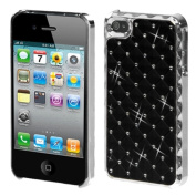 INSTEN Black/ Silver Dazzling/ Diamonds Phone Case Cover for Apple iPhone 4S/ 4
