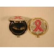Budd Leather AB580338 Crystal Round Pill Box W/Mirror & Abcf Ribbon Logo
