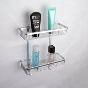 KES A4026 Aluminium Bathroom 2-Tier Shelf Basket Wall Mounted, Silver Sand-Sprayed