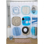 Printed Shower Curtain Street Art Polyester Blue 71W X 79L / 180 X 200 cm