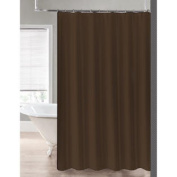 2-in-1 Water Repellant 70 x 72 Polyester Fabric Shower Curtain/Liner Chocolate