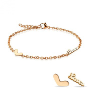 Love U Heart Charm Rose Gold Plated Adjustable Anklet. Presented in a premium gift box and organza bag.