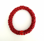 Handmade Christian Orthodox Greek Chotki Komboskoini Prayer Rope Elastic Red with Red Bead