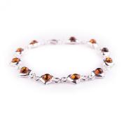 Baltic Amber Cognac 925 Sterling Silver Bracelet Jewellery 19.5cm