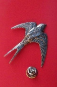 swallow Lapel Pin Badge gracefull british bird English Pewter Lapel /tie Pin Badge in gift box, clip for rear of badge.