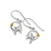 Sterling Silver Circle Drops with Gold Heart and Swallow Design